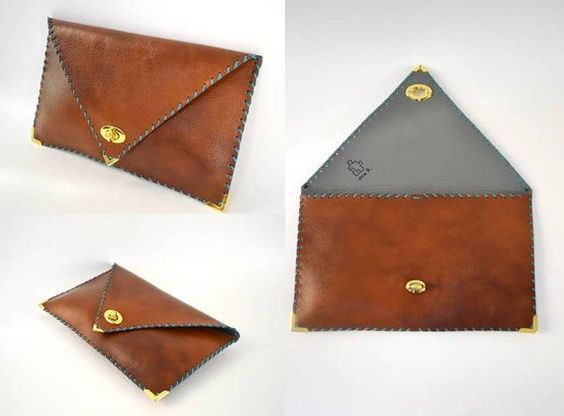 Brown camel leather clutch / Handmade leather bag / by AnaKoutsi