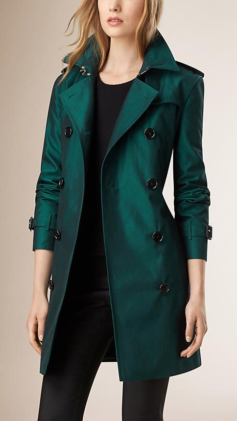 Burberry - Dark teal melange Gabardine Trench Coat with Wool Warmer