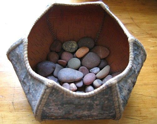 Bark Basket Of Stones Basket Birch Bark Stone