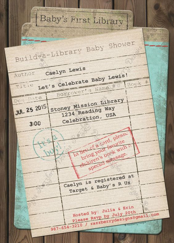 Library Card Baby Shower Invitation Book Theme by RazzberryMomma