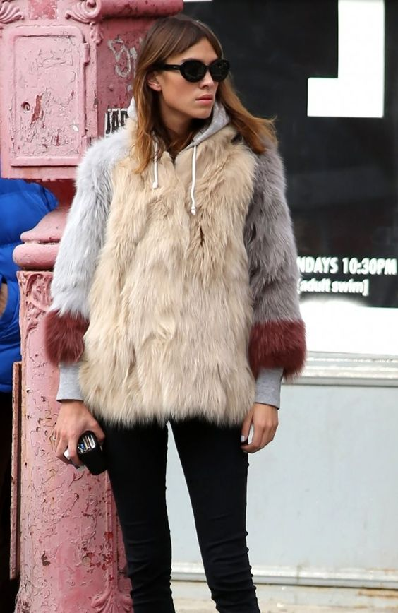 """"""" Alexa Chung enjoys a coffee and cigarette with a friend on October 31, 2014 in New York City, New York. """""""