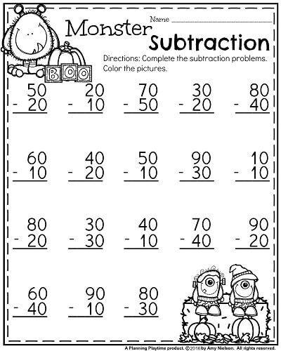 First Grade Worksheets For October Monster Subtraction Multiples Of 1 First Grade Worksheets Kindergarten Subtraction Worksheets First Grade Math Worksheets
