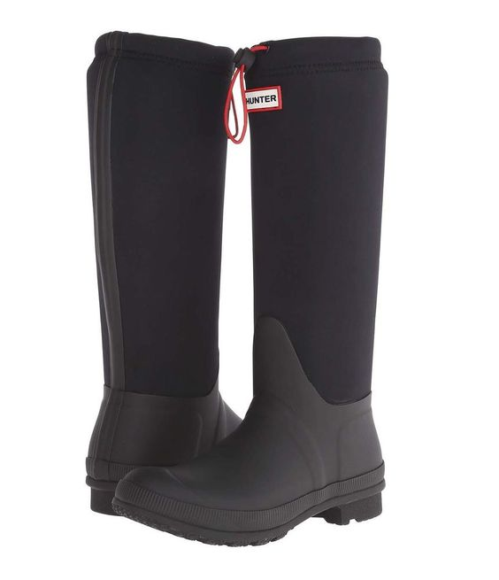 Hunter Original Tour Neoprene Wellington Black Rubber Rain Boots ...