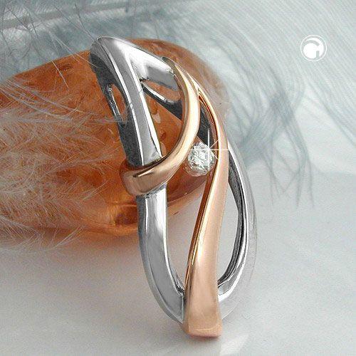 Anhänger Zirkonia rhodiniert Silber 925  Hochwertiger Kettenanhänger in 925er Silber und perfekt gefasstem Zirkonia, Oberfläche anlaufgeschützt rhodiniert, bicolor - Rhodium mit Kupfer