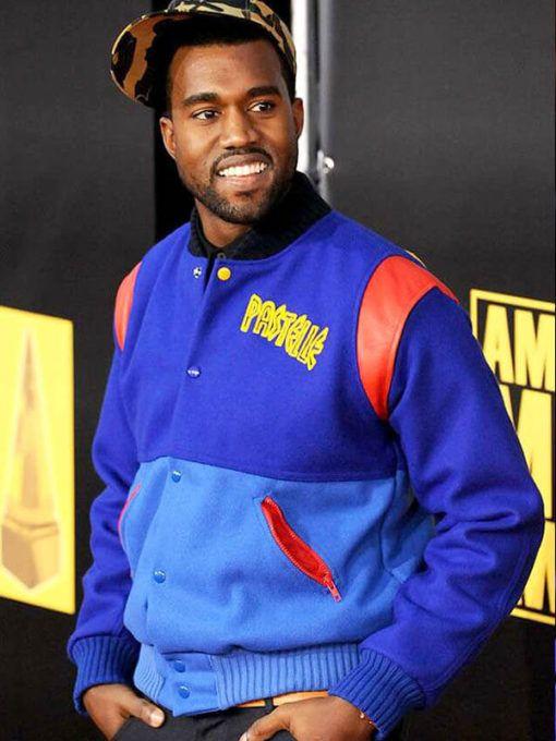 Pastelle Kanye West Blue Varsity Jacket Just American Jackets In 2020 Lost Clothing Varsity Bomber Jacket Kanye West