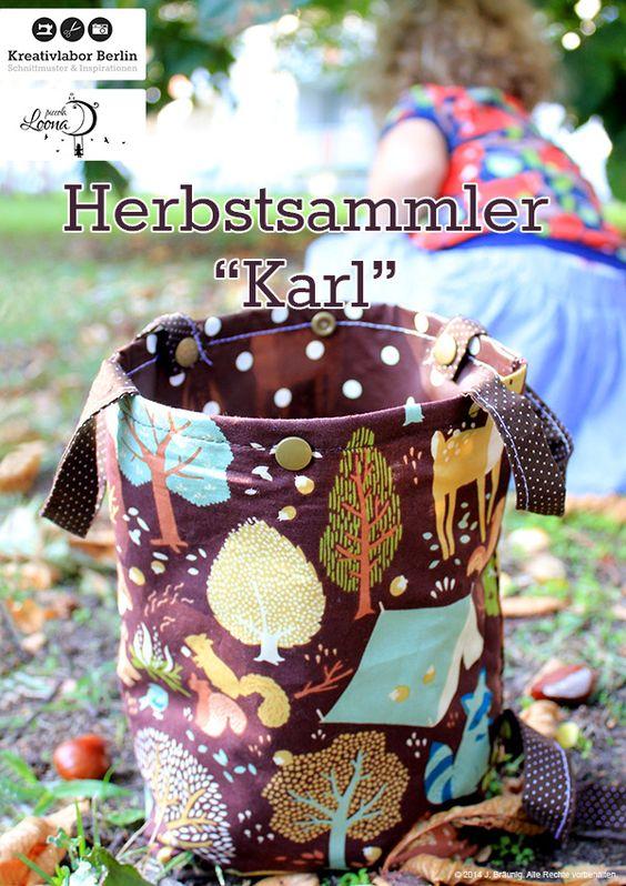 Herbstsammler Karl ist der perfekte Begleiter für Herbstspaziergänge und verstaut prima kleine Waldmitbringsel wie Kastanien, Eicheln, Tannenzapfen und andere Funde deines kleinen Entdeckers. Die Innenseite der Tasche wird aus Wachstuch oder laminierter Webware genäht und ist somit wasser- und schmutzabweisend....