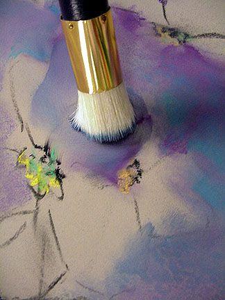 blending pastel with brush