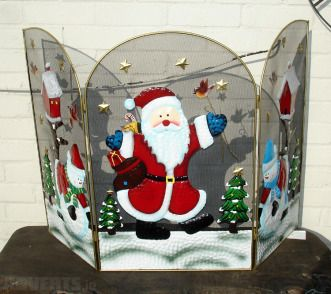Decorative Christmas Fire Screen Santa Or Snowman On Fireplace Christmas