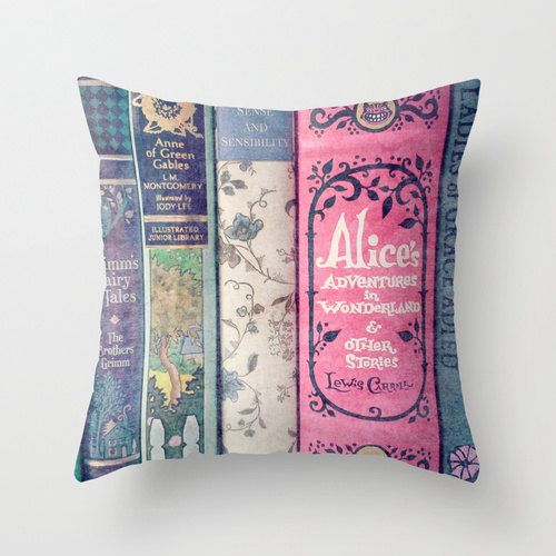Land of Stories Pillow - Books, Decor, Bedding, Nursery, Girl's Room, Jane Austen, Alice in Wonderland, Fairy Tales, Mint, Aqua, Pink