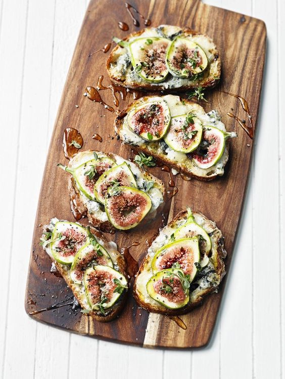 Fig and gorgonzola bruschetta with a drizzle of balsamic or honey... No recipe but easy enough to make. Brie would also be yummy, and perhaps blue cheese too.