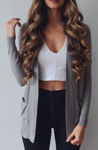 Pinterest// @9abbyacker9 | fashion | Pinterest | Gray Cardigan Crop Tops and Cardigans