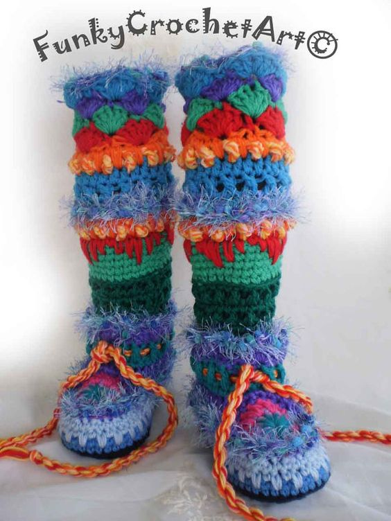 Crochet Slipper Boots/ Leg Warmer Combo Awesome by FunkyCrochetArt