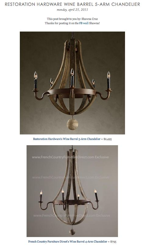COPY CAT CHIC FIND: Restoration Hardware's Wine Barrel 5-Arm Chandelier VS French Country Furniture Direct's Wine Barrel 4-Arm Chandelier