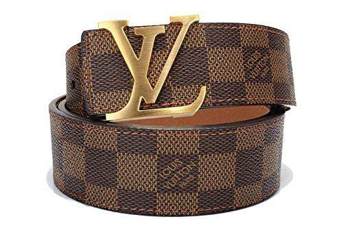 Brown Gold Fashion Leather Metal Buckle Belt 110cm Louis Vuitton Mens Belt Buckles Fashion Genuine Leather Belt