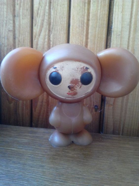 "very rare vintage plastic toy  ""Cheburashka"", a character  children's cartoon. Made in the USSR."