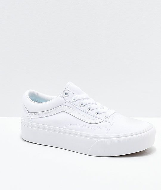 Vans Old Skool True White Platform Shoes | White platform