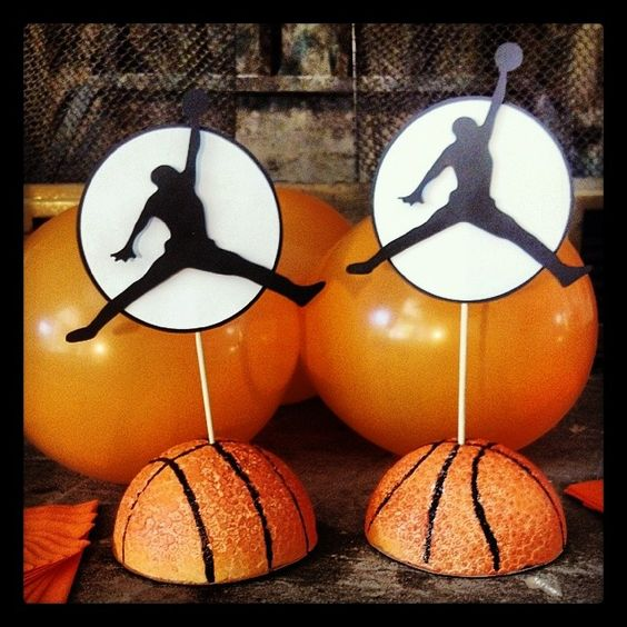 silhouette of a basketball play centerpiece:
