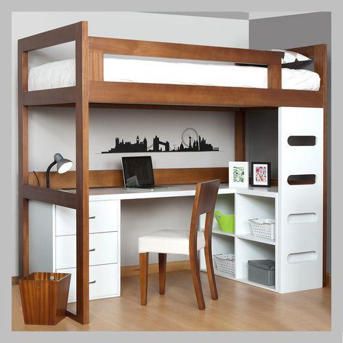 Camarote con escritorio para ni os cam 03 negro for Modelos de habitaciones infantiles