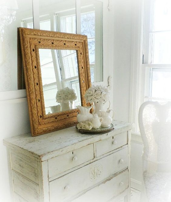P A R L O R ...Mirror Antique Gold Mirror French Romantic Home Decor