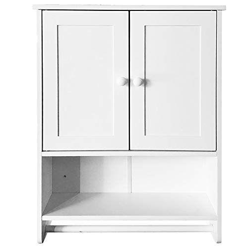 Bathroom Wall Cabinet White Wooden Bathroom Organizer Storage 2