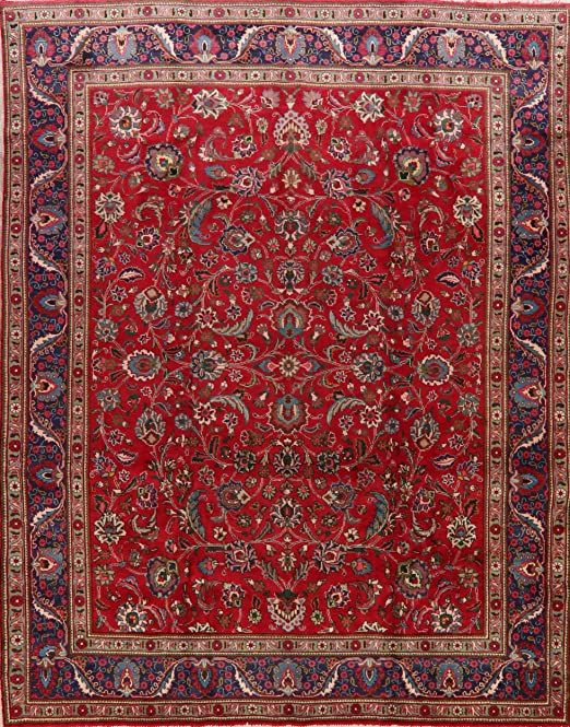 Vintage Floral Tabriz Persian Red Amp Blue Oriental Area Rug Wool Hand Knotted Dining Room Carpet 10x13 9 9 In 2020 Oriental Area Rugs Wool Area Rugs Room Carpet