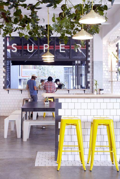 heaton: White Tile, Cafe Idea, Yellow Stools, Cafe Interiors, Restaurant Design, Cafe Design, Shops Stores Restaurants Cafes, Cape Town