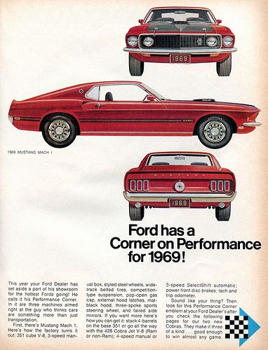 1969 Ford Mustang Mach 1 Advertising Hot Rod Magazine October 1968