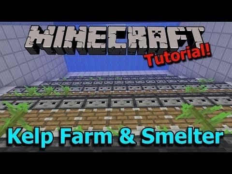 Minecraft 1 13 Automatic Kelp Farm And Efficient Dried Kelp Block Smelter Tutorial Minecraft Automatic Farm Minecraft Redstone Minecraft Farm