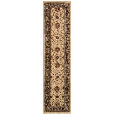 Charlton Home Dogwood Beige/Black Area Rug Rug Size: