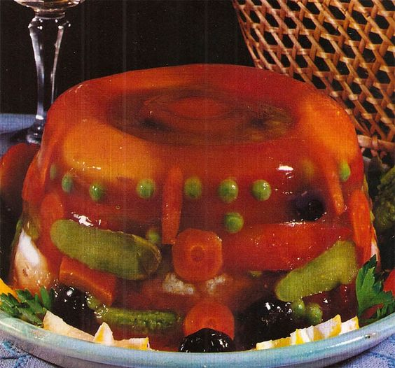 And I thought fruit jello molds were gross!  I know what I'll be bringing to the next dinner party!