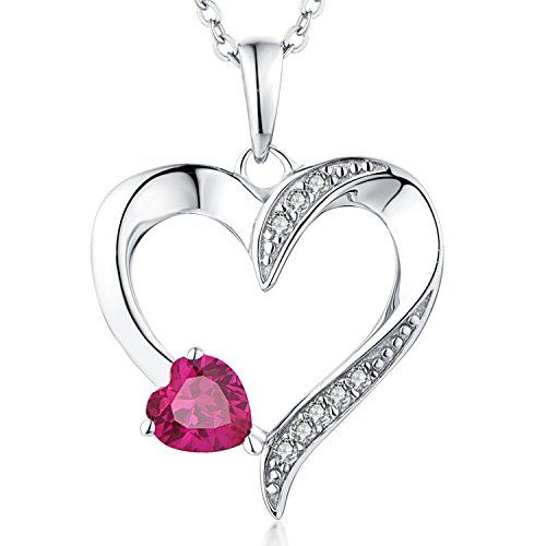 YL Heart Necklace 925 Sterling Silver Love Heart Pendant with 5MM5MM Heart Blue Sapphire//Ruby//Pink//Amethyst//Emerald//Zirconia Birthstone Women Jewelry