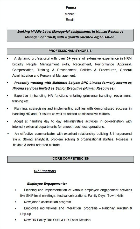 Human Resource Management Sample Resume Template Hiring Manager Resume The Hr Team Is Fantastic A Human Resources Resume Sample Resume Templates Hr Resume