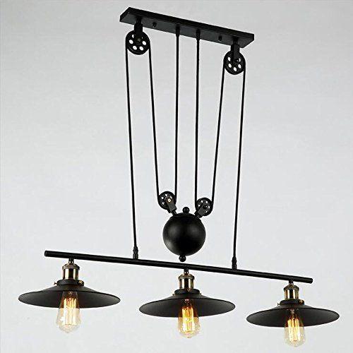 Dst Retro Pendant Retractable Chandelier Pendant Vintage Adjustable Hanging Ceiling Light Pen Vintage Ceiling Lights Black Pendant Lamp Hanging Ceiling Lights