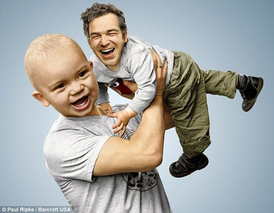 arms around the child | ... Mum and dads switch heads with children in freaky photos | Mail Online