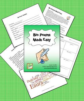 FREE Bio Poems Made Easy - Complete packet of printables and directions - great activity to share at open house!