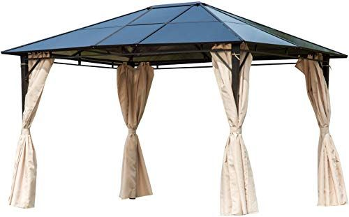 Enjoy Exclusive For Outsunny 10 X 12 Outdoor Steel Frame Gazebo Semi Transparent Clear Plastic Hardtop Roof Removable Curtains Online Gazebo Gazebo Tent Outdoor Wicker Patio Furniture