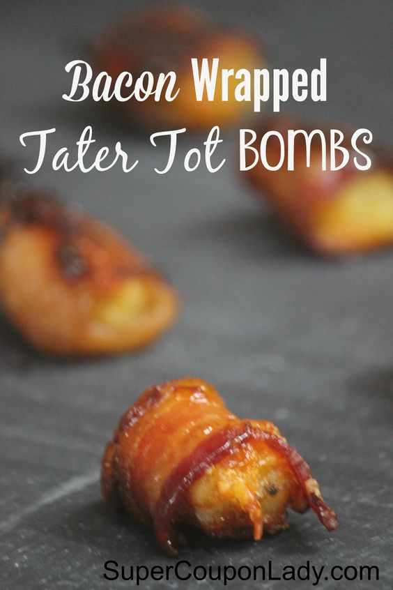 Bacon Wrapped Tater Tot Bombs http://www.supercouponlady.com/bacon-wrapped-tater-tot-bombs-recipe/