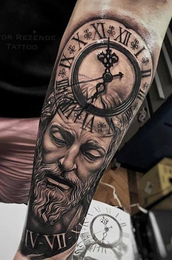 God Tattoos On Arm : tattoos, Coolest, Forearm, Tattoos, Today, Tattoos,, Guys,, Clock, Tattoo