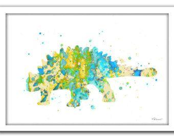 Dinosaur print dinosaur art print dinosaur by FluidDiamondArt