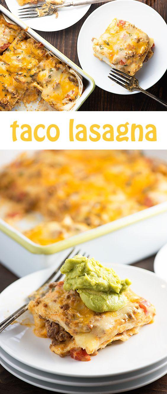Taco lasagna, Easy weeknight dinners and Lasagna on Pinterest