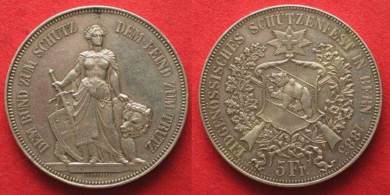 1885 Schweiz - Schützentaler BERN 5 Franken 1885 SCHÜTZENTALER Silber ERHALTUNG…