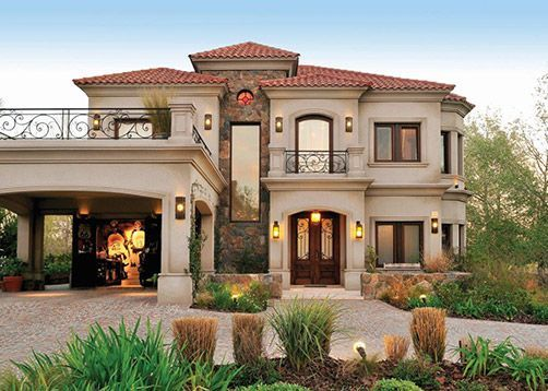 fachada de casa estilo cl sico toscano realizada por