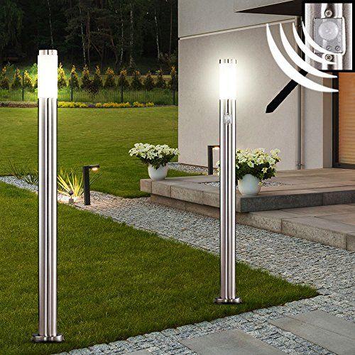 2 X Lampadaire Led Acier Inoxydable Luminaire Sur Pied Lampe Del Jardin Terrasse Lampadaire Led Led Eclairage