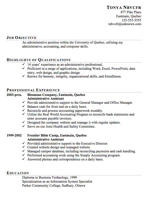 resume  administrative assistant resume and search on pinterest
