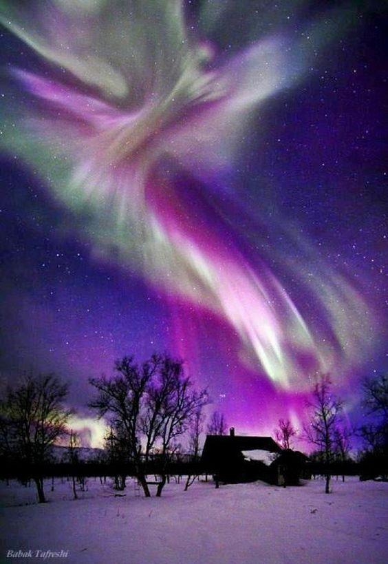 Beautiful Aurora Borealis on the night sky