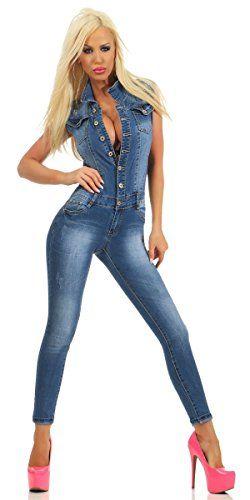 factory authentic 2a7b7 96e6d Fashion4Young 10938 Damen Jeans Overall Hosenanzug Einteiler ...
