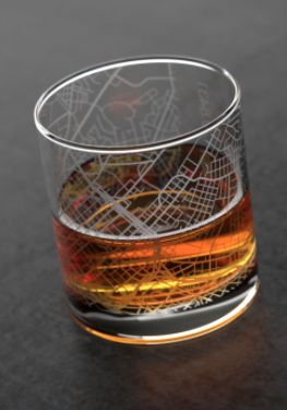 home town maps whiskey glass