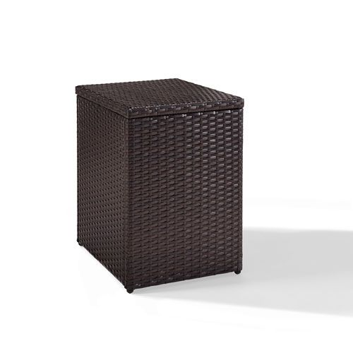 Palm Harbor Brown Outdoor Wicker Rectangular Side Table Patio Side Table Crosley Furniture Wicker Side Table