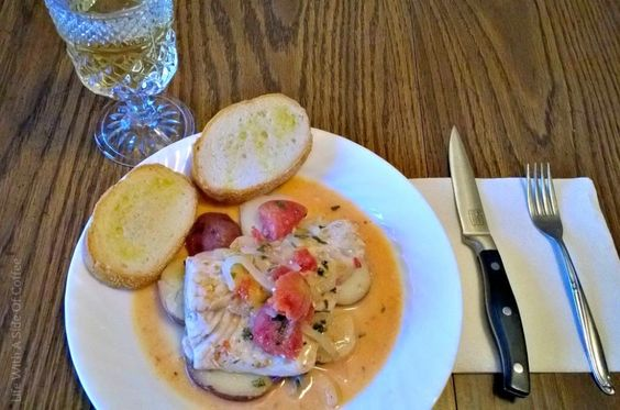 Fillets of Fish in a Basil Tomato Sauce with Crostini