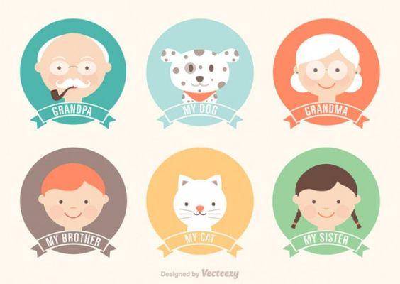 Etiquetas dos desenhos animados membro da família Vetor grátis